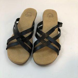 Bass Sunjun Black Sheila  Comfort Sandals Size 9 W